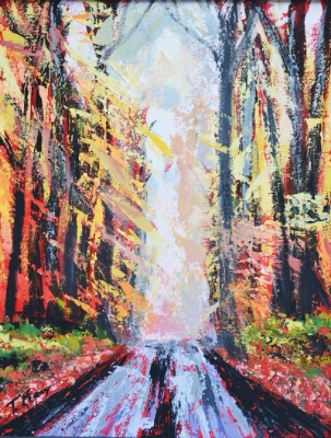 Light and Road Path 16 x 20 Acrylic Painting   $400    Email  for more info