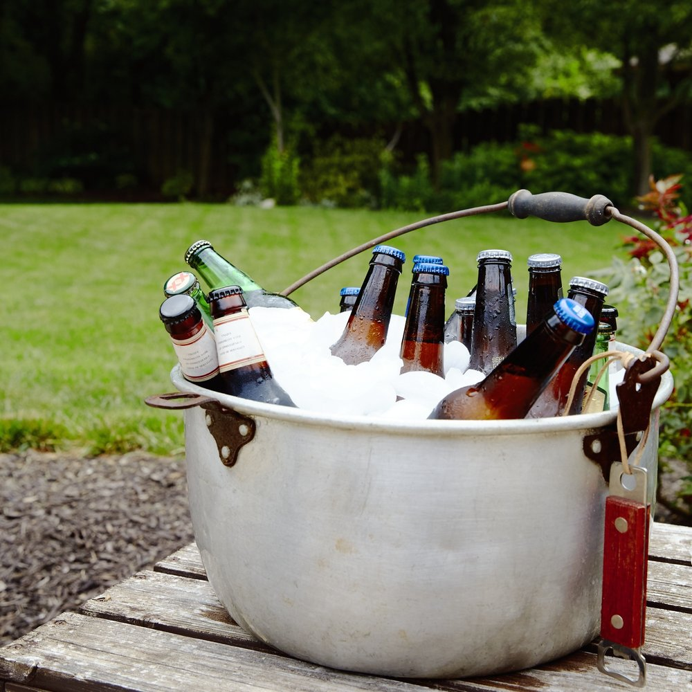 Beers in antique bucket