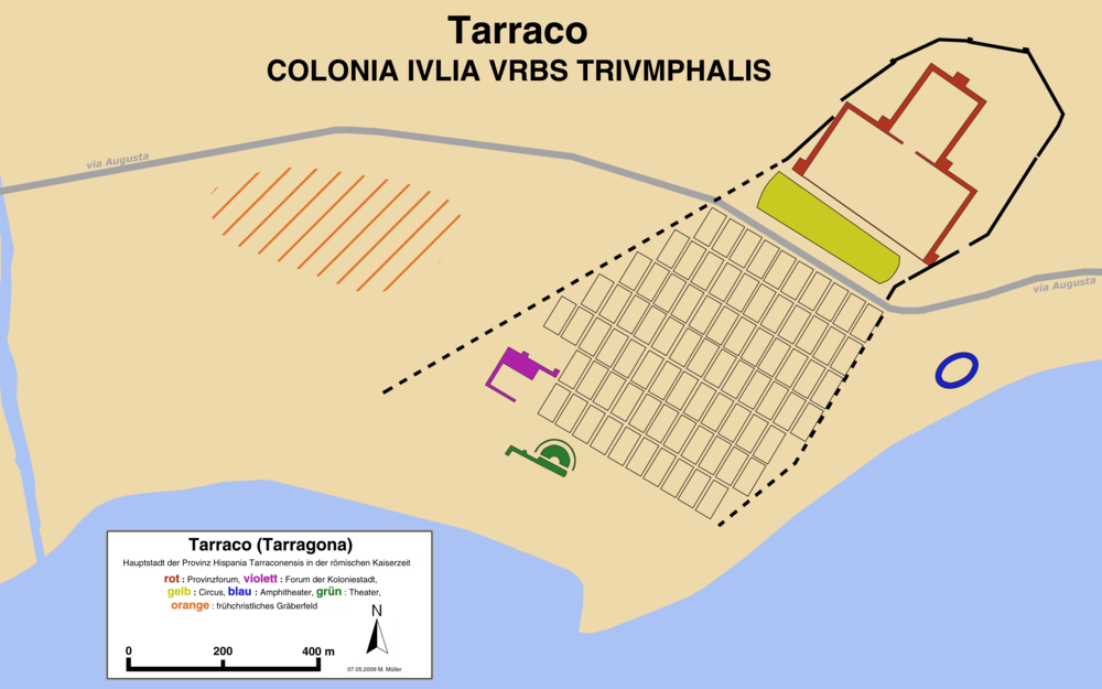 Plan of Tarraco in imperial times showing the main buildings |  © Haselburg-müller / Wikimedia