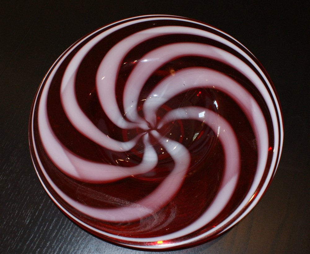 New Red & White Glass Bowl