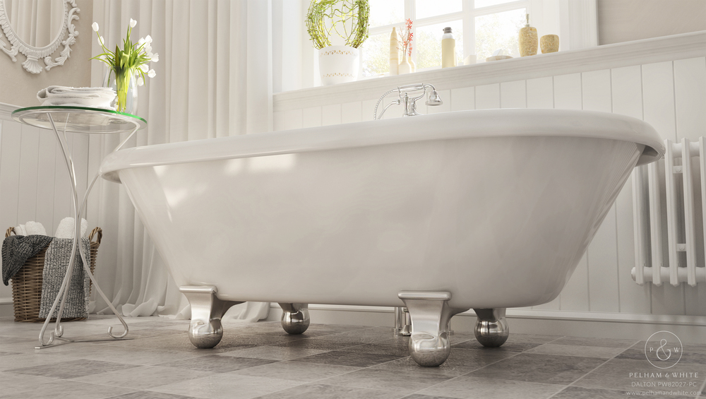Pelham and White- Dalton 60 inch clawfoot tub- Cannonball Feet in Chrome- 2