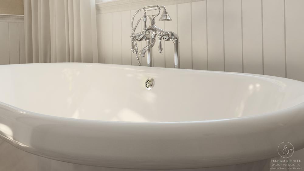 Pelham and White- Dalton 60 inch clawfoot tub- Cannonball Feet in Chrome- 3