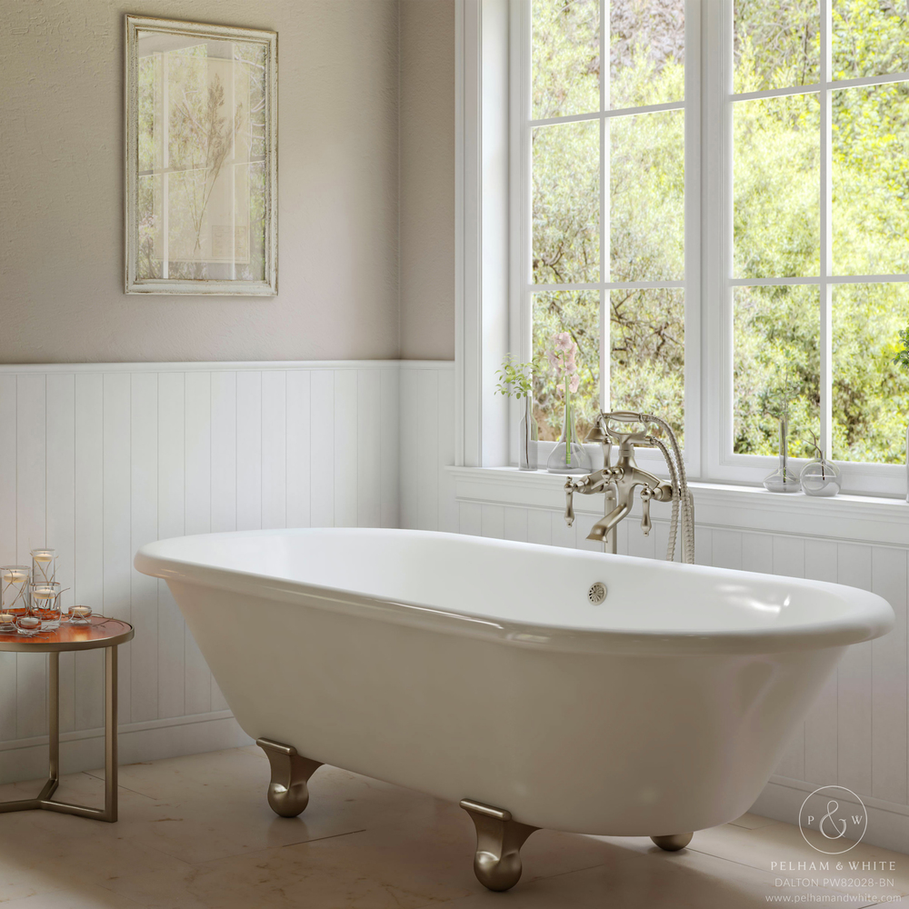 Pelham and White- Dalton 60 inch clawfoot tub- Cannonball Feet in Brushed Nickel- Main