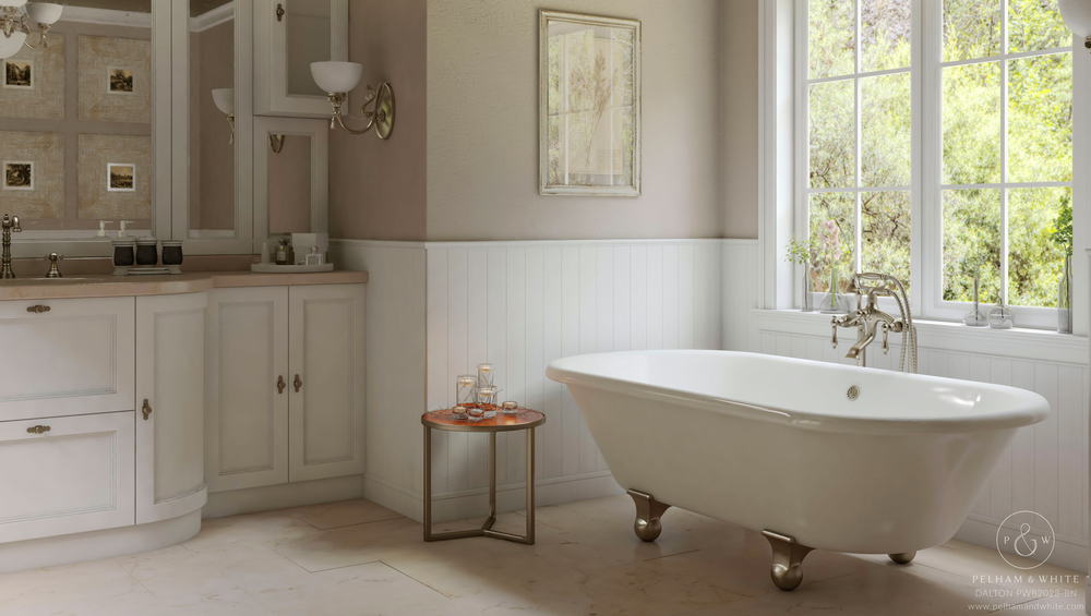 Pelham and White- Dalton 60 inch clawfoot tub- Cannonball Feet in Brushed Nickel- 1