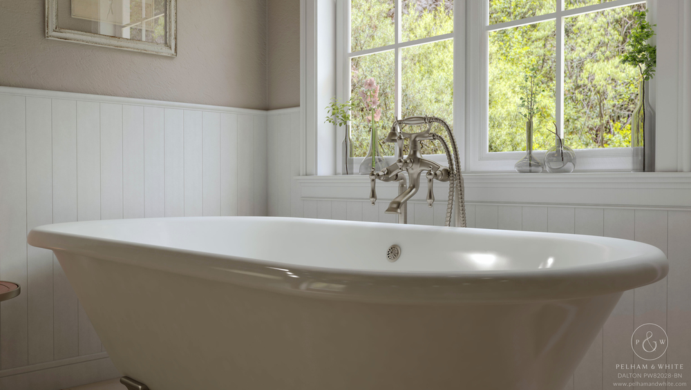 Pelham and White- Dalton 60 inch clawfoot tub- Cannonball Feet in Brushed Nickel- 2