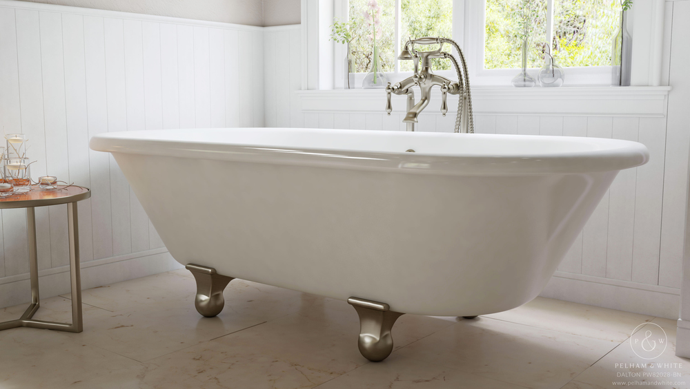 Pelham and White- Dalton 60 inch clawfoot tub- Cannonball Feet in Brushed Nickel- 3