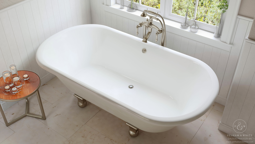 Pelham and White- Dalton 60 inch clawfoot tub- Cannonball Feet in Brushed Nickel- 4
