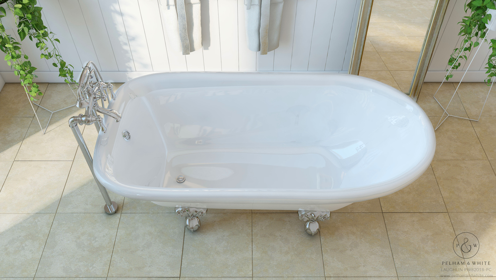 Pelham and White- Laughlin 60 inch clawfoot tub- Ball and Claw Feet in Chrome- 3