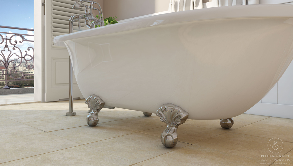 Pelham and White- Laughlin 60 inch clawfoot tub- Ball and Claw Feet in Chrome- 4