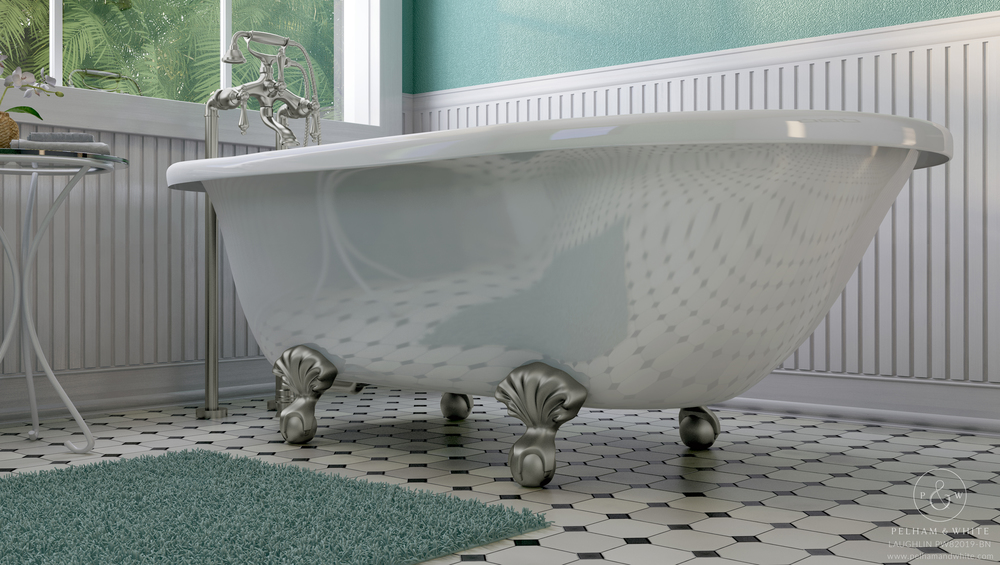 Pelham and White- Laughlin 60 inch clawfoot tub- Ball and Claw Feet in Brushed Nickel- 3