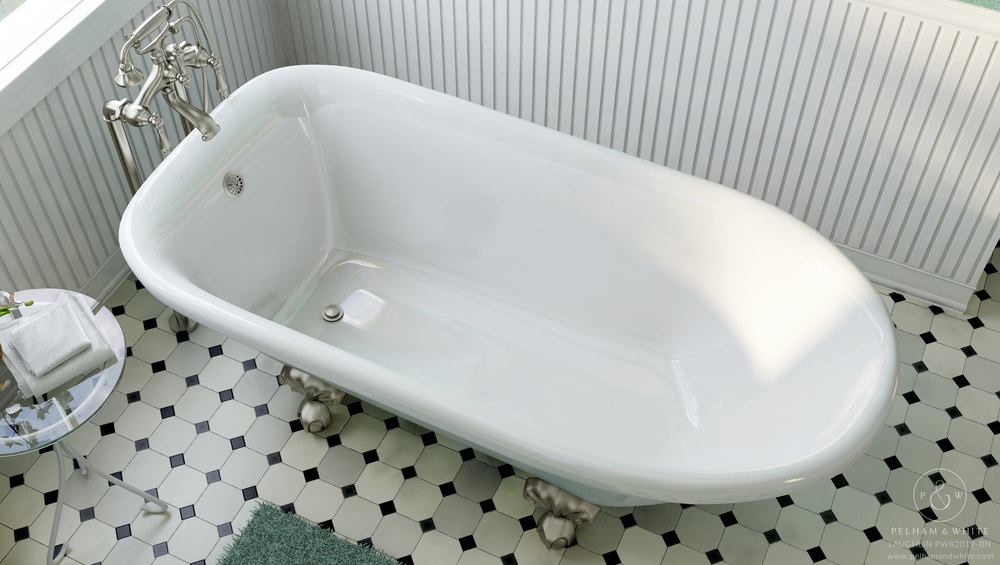 Pelham and White- Laughlin 60 inch clawfoot tub- Ball and Claw Feet in Brushed Nickel- 4