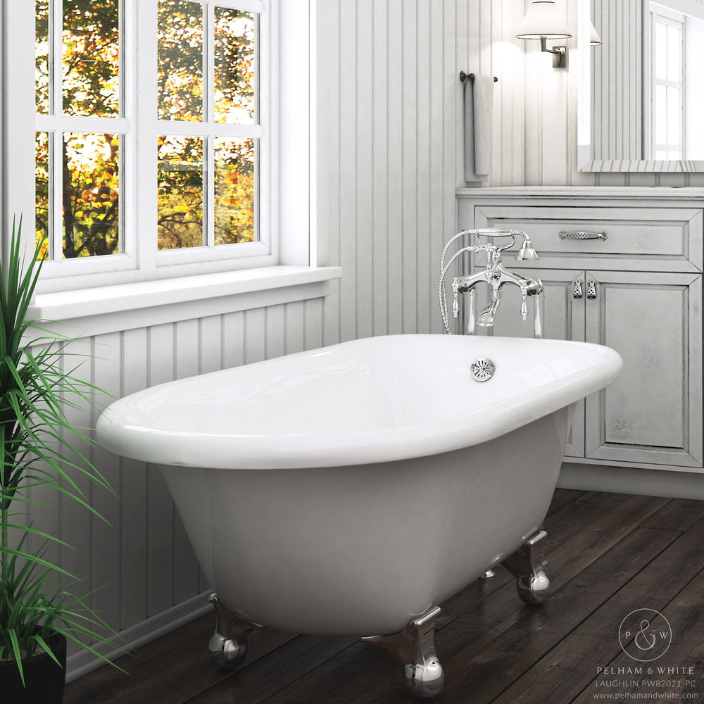 Pelham and White- Laughlin 60 inch clawfoot tub- Cannonball Feet in Chrome- Main