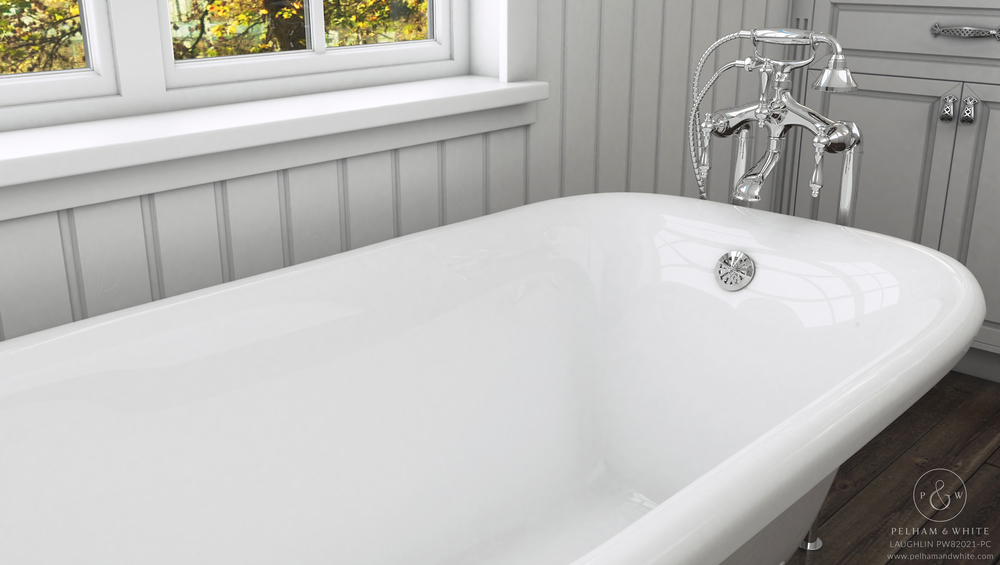 Pelham and White- Laughlin 60 inch clawfoot tub- Cannonball Feet in Chrome- 3