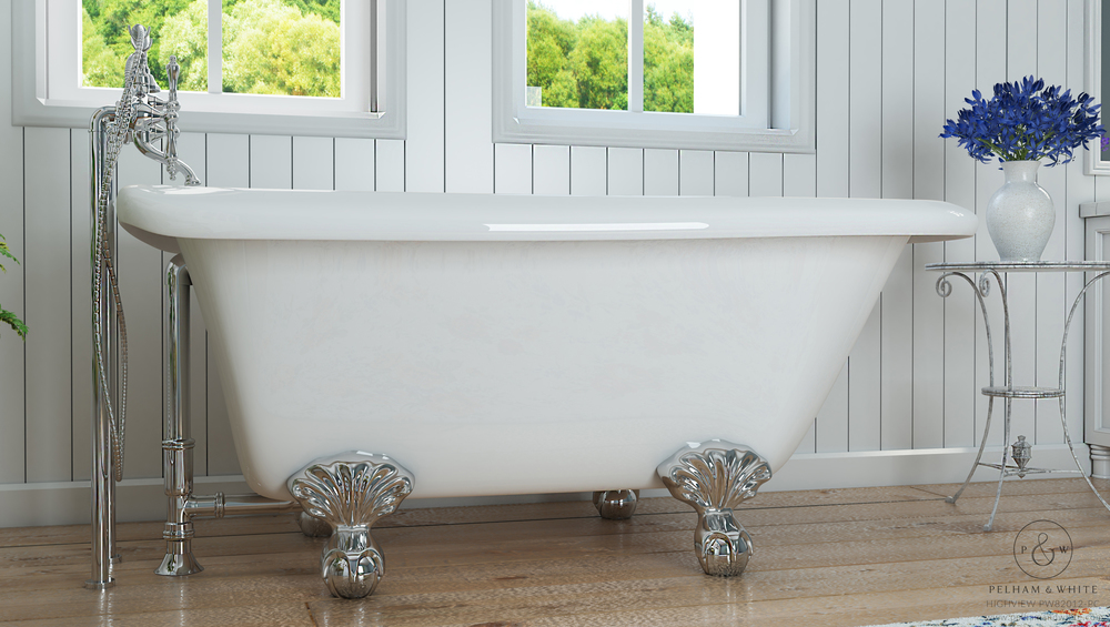 Pelham and White- Highview 54 inch clawfoot tub- Ball and Claw Feet in Chrome- 2