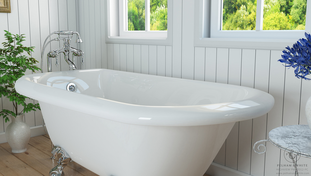 Pelham and White- Highview 54 inch clawfoot tub- Ball and Claw Feet in Chrome- 3