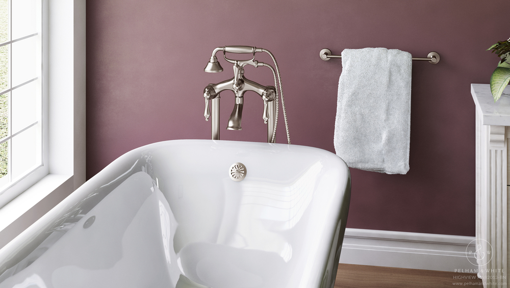Pelham and White- Highview 54 inch clawfoot tub- Ball and Claw Feet in Brushed Nickel- 2