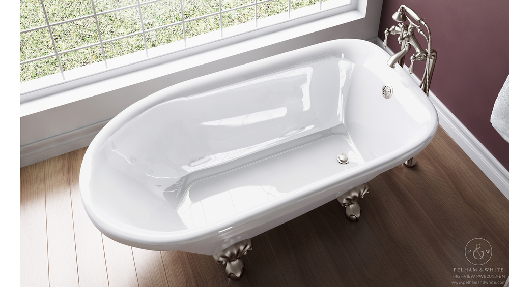 Pelham and White- Highview 54 inch clawfoot tub- Ball and Claw Feet in Brushed Nickel- 3