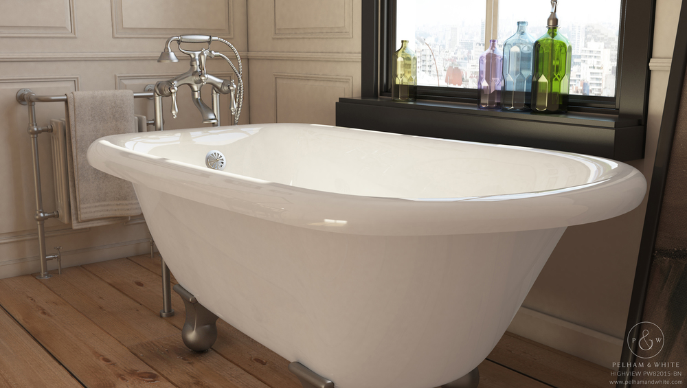 Pelham and White- Highview 54 inch clawfoot tub- Cannonball Feet in Brushed Nickel- 2