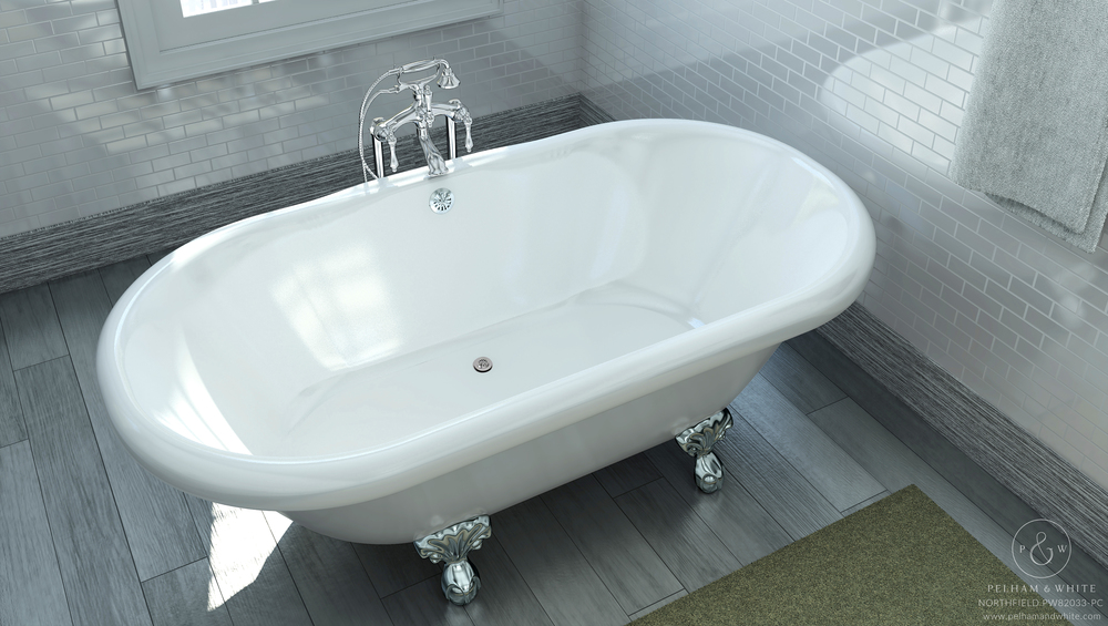 Pelham and White- Northfield 72 inch clawfoot tub- Ball and Claw Feet in Chrome- 3