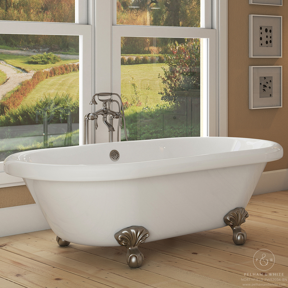 Pelham and White- Northfield 72 inch clawfoot tub- Ball and Claw Feet in Brushed Nickel- Main
