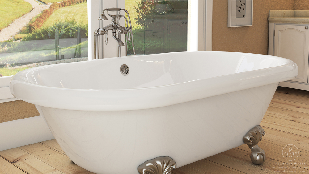 Pelham and White- Northfield 72 inch clawfoot tub- Ball and Claw Feet in Brushed Nickel- 2