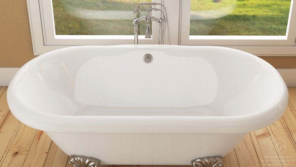 Pelham and White- Northfield 72 inch clawfoot tub- Ball and Claw Feet in Brushed Nickel- 3