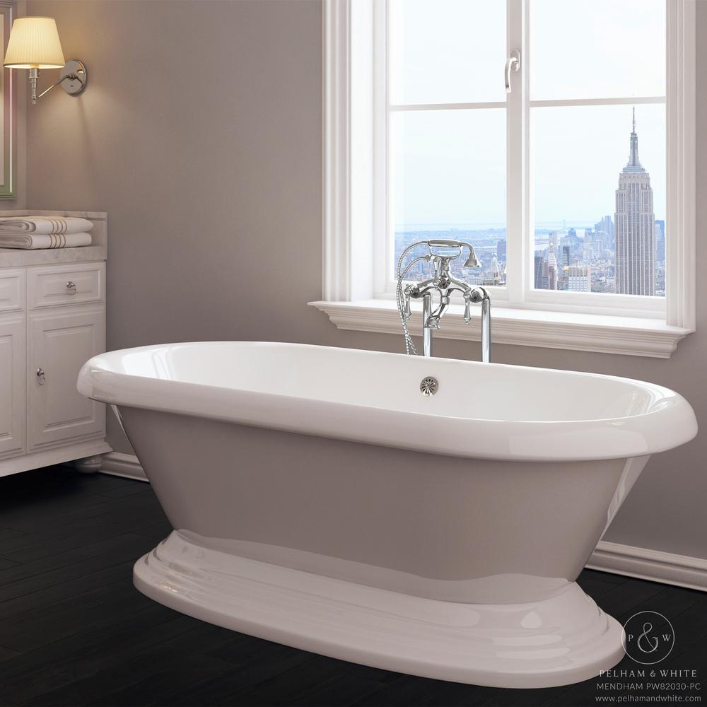 60 inch free standing tub. pelham and white- mendham 60 inch freestanding pedestal tub- chrome drain- main free standing tub
