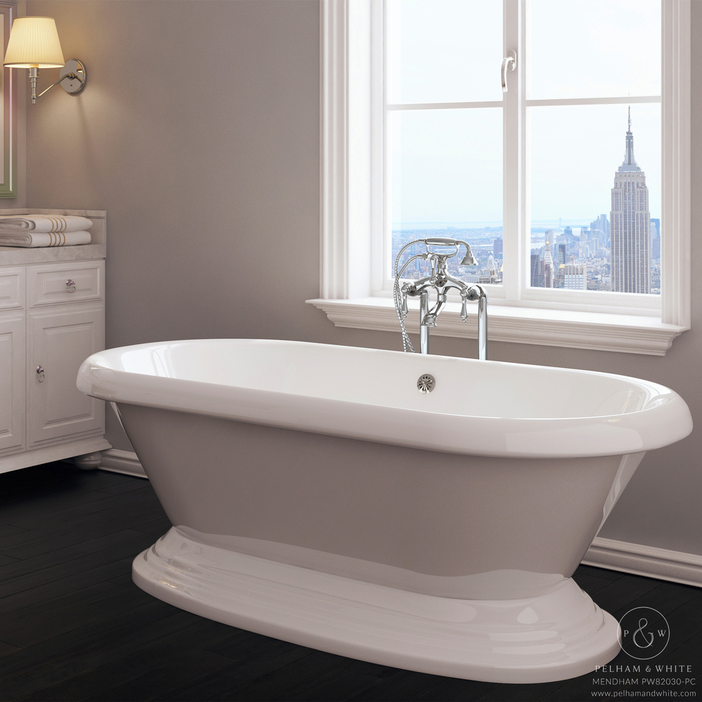Pelham and White- Mendham 60 inch freestanding pedestal tub- Chrome Drain- Main
