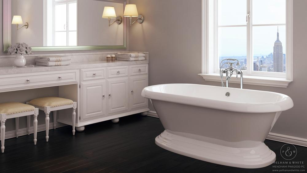 Pelham and White- Mendham 60 inch freestanding pedestal tub- Chrome Drain- 1