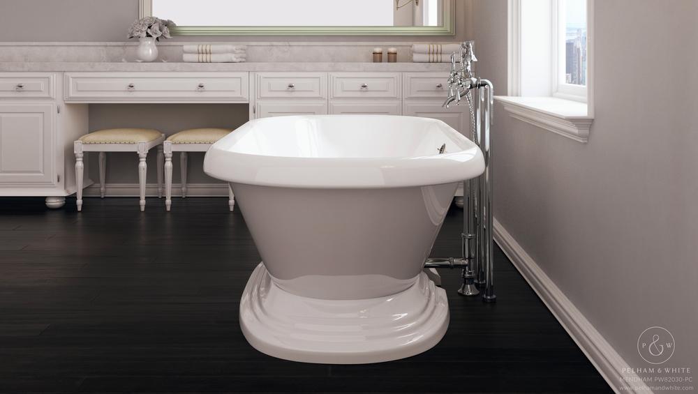 Pelham and White- Mendham 60 inch freestanding pedestal tub- Chrome Drain- 2