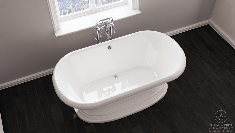 Pelham and White- Mendham 60 inch freestanding pedestal tub- Chrome Drain- 3