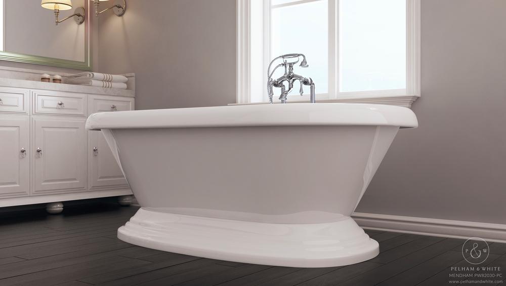 Pelham and White- Mendham 60 inch freestanding pedestal tub- Chrome Drain- 4