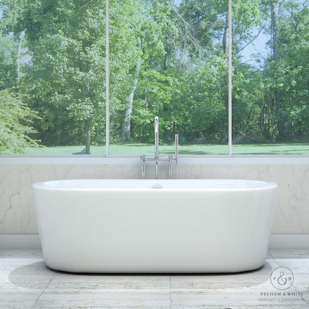Pelham and White- Newcastle 67 inch freestanding tub- Chrome Drain- Main