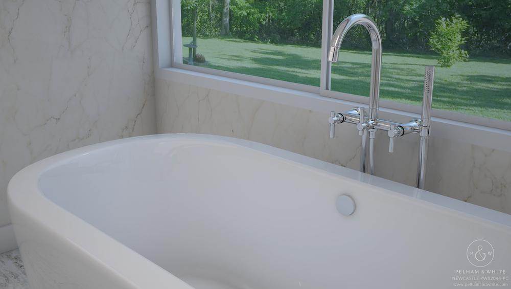 Pelham and White- Newcastle 67 inch freestanding tub- Chrome Drain- 3
