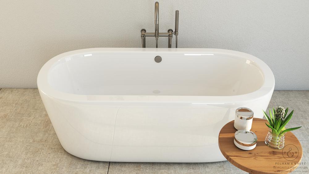 Pelham and White- Newcastle 67 inch freestanding tub- Brushed Nickel Drain- 3