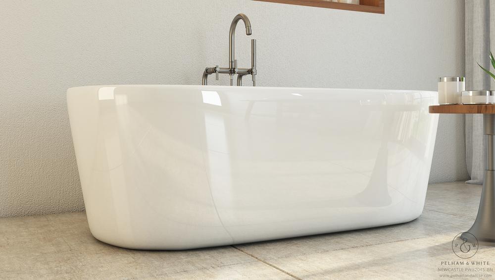 Pelham and White- Newcastle 67 inch freestanding tub- Brushed Nickel Drain- 4