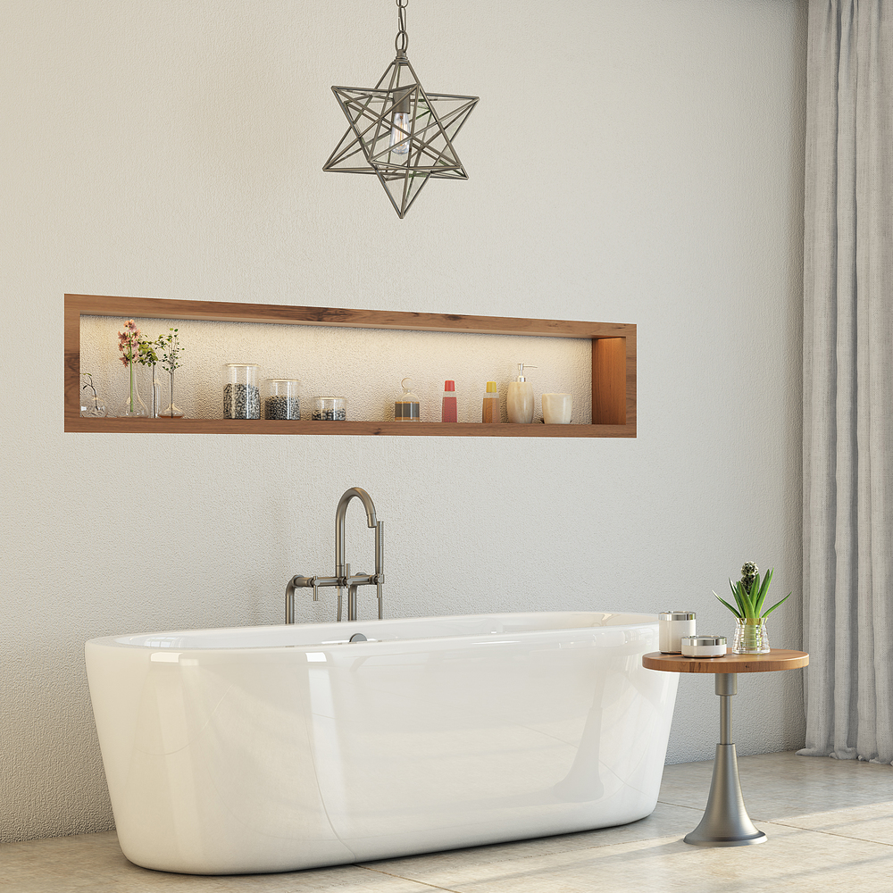 Newcastle 67 Inch Freestanding Tub in White- Full Apron Brushed ...