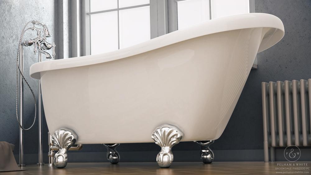 """Brookdale 60"""" Clawfoot Slipper Tub in Chrome"""