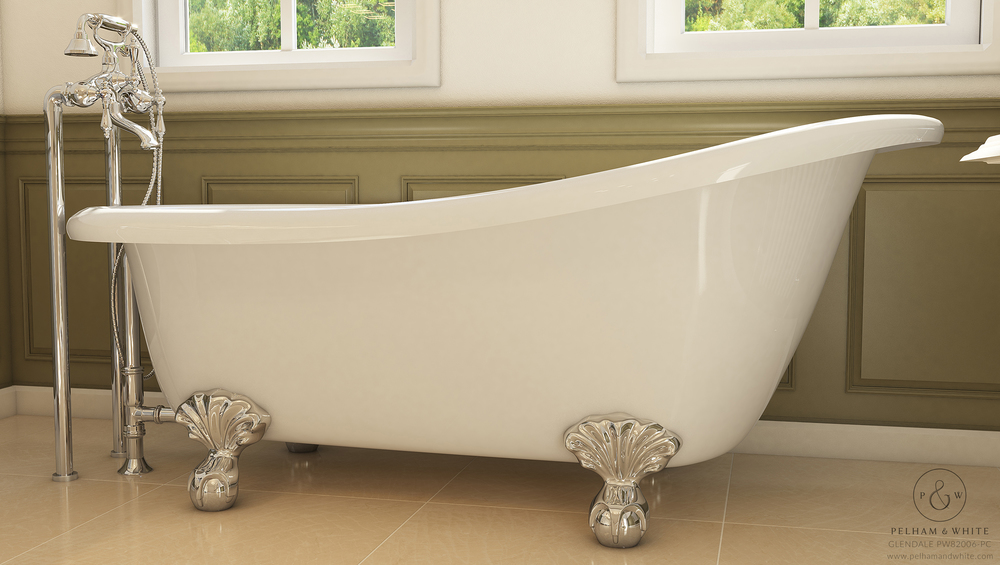"Glendale 67"" Clawfoot Slipper Tub in Chrome"