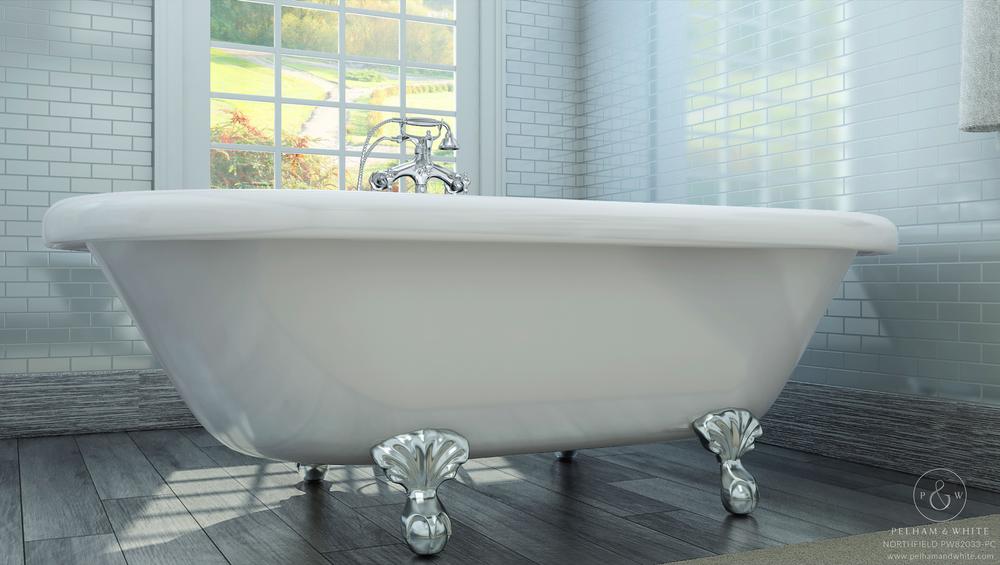 "Northfield 72"" Clawfoot Tub in Chrome"