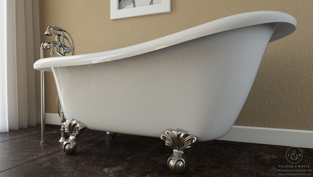 "Brookdale 60"" Clawfoot Slipper Tub in Nickel"