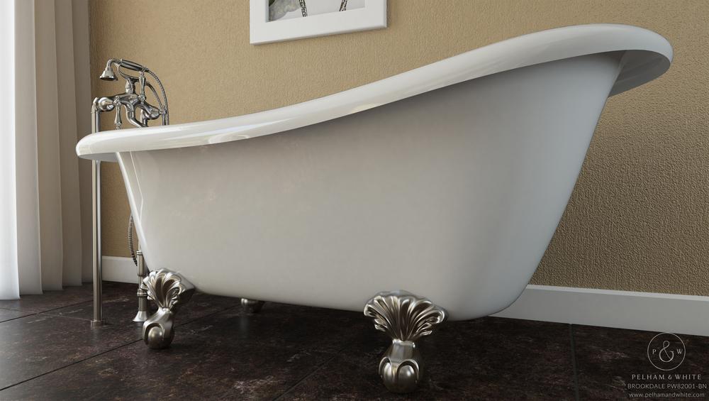 """Brookdale 60"""" Clawfoot Slipper Tub in Nickel"""