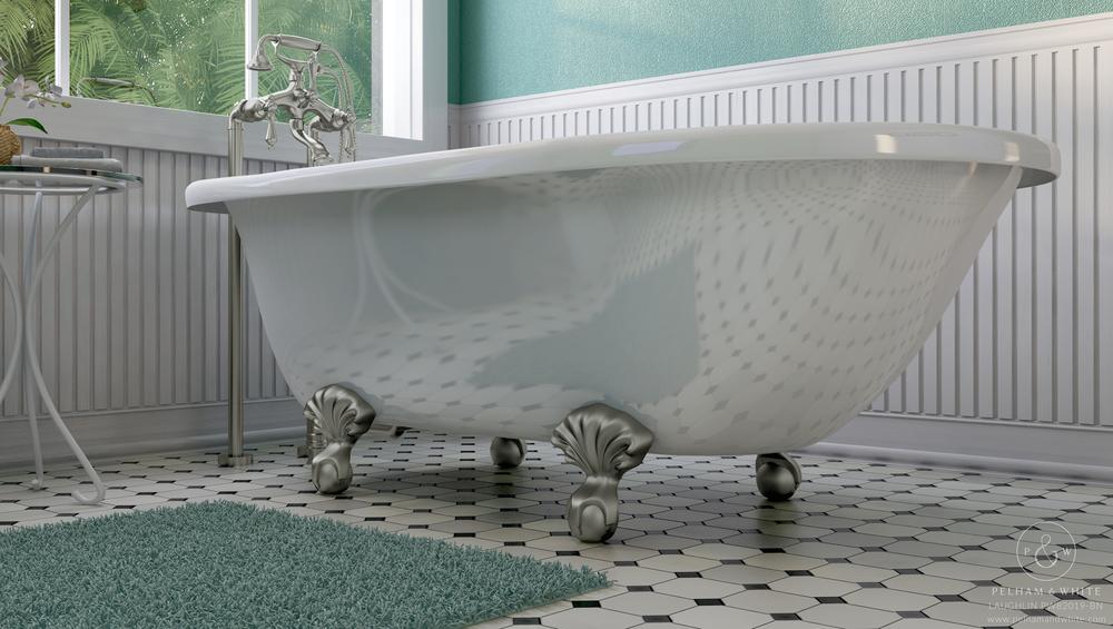 "Laughlin 60"" Clawfoot Tub in Nickel"