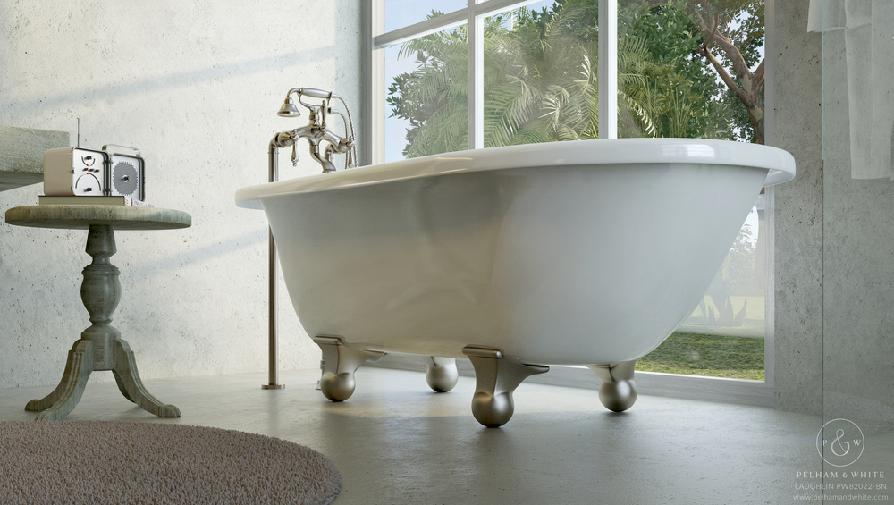 "Laughlin 60"" Cannonball Tub in Nickel"