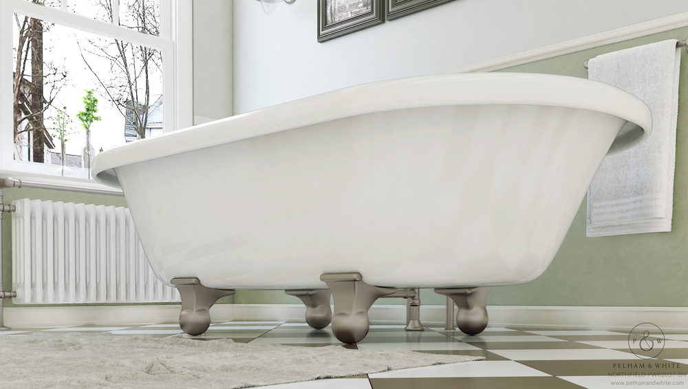 "Northfield 72"" Cannonball Tub in Nickel"