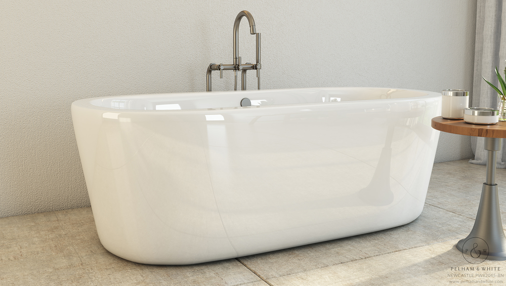 modern bathtub — pelham and white