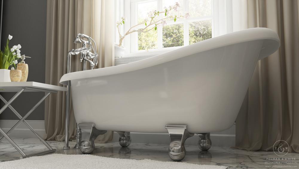 """Brookdale 60"""" Modern Tub in Chrome"""