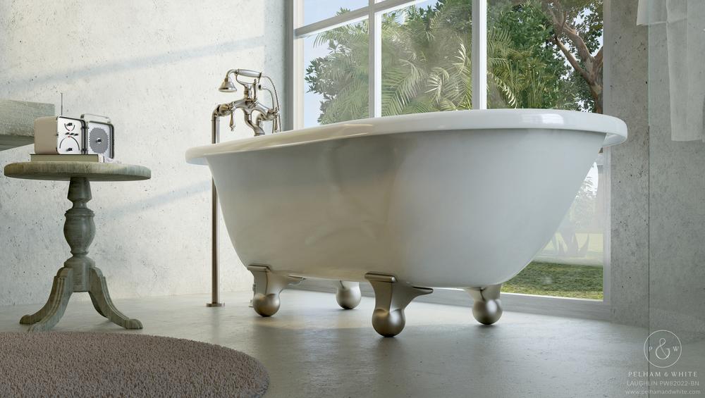 "Laughlin 60"" Modern Tub in Nickel"