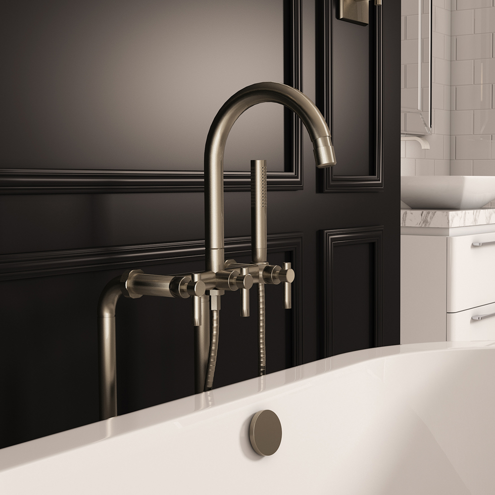 Pelham and White Contemporary Floor Mount Tub Filler Faucet in Brushed Nickel- Main.jpg