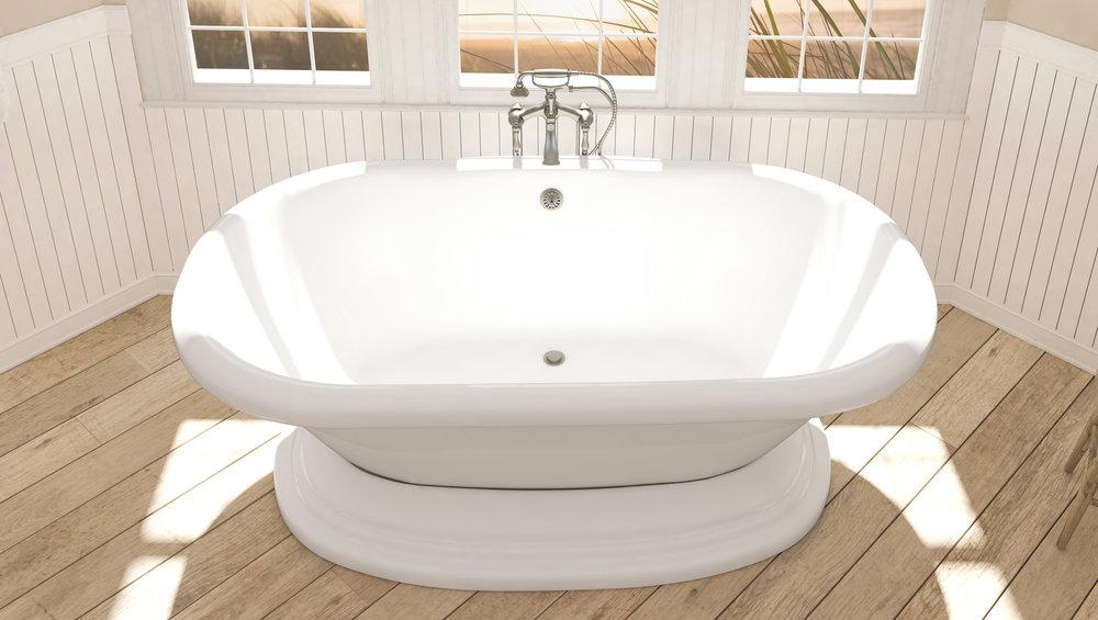 Pelham and White- Eastchester 72 inch freestanding pedestal tub- Brushed Nickel Drain- 3